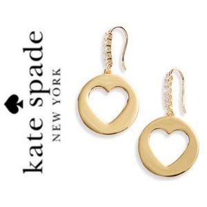 NWT Kate Spade Heart cutout drop earrings goldtone